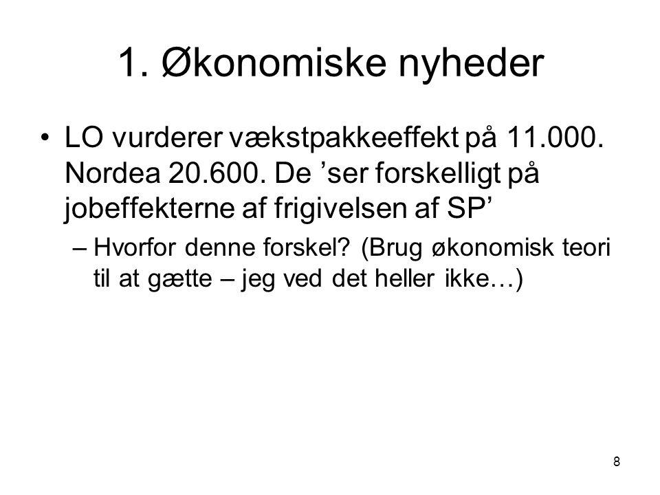 1. Økonomiske nyheder LO vurderer vækstpakkeeffekt på 11.000. Nordea 20.600. De 'ser forskelligt på jobeffekterne af frigivelsen af SP'
