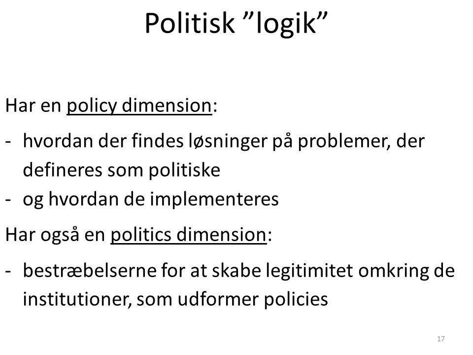 Politisk logik Har en policy dimension: