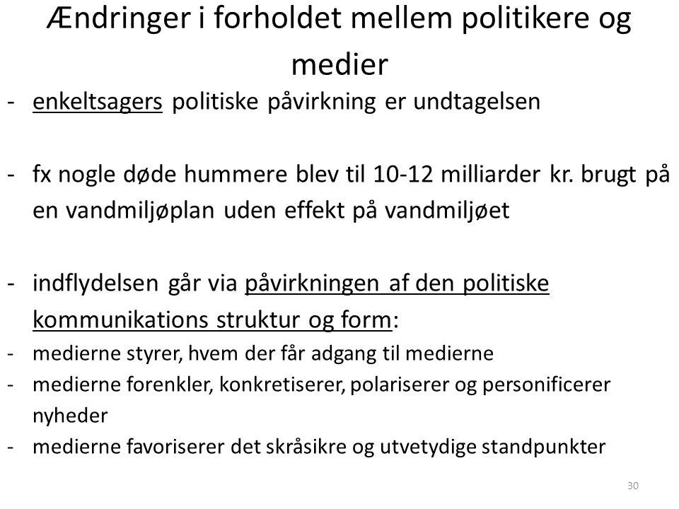 Ændringer i forholdet mellem politikere og medier