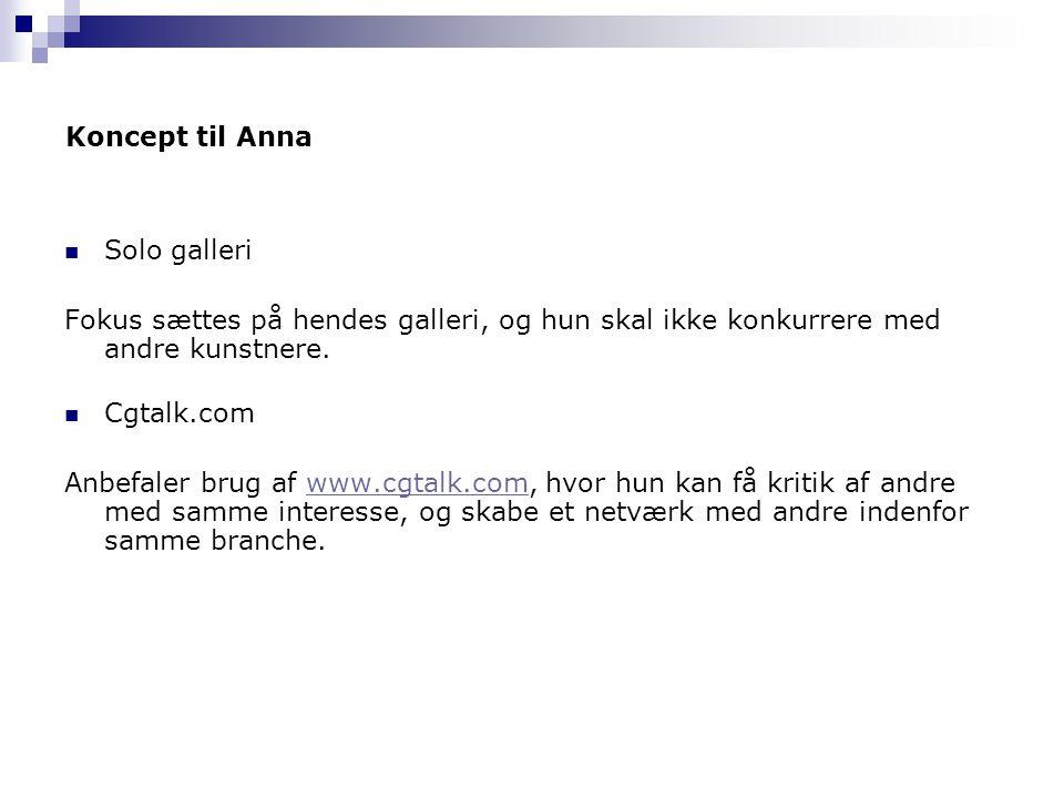 Koncept til Anna Solo galleri. Fokus sættes på hendes galleri, og hun skal ikke konkurrere med andre kunstnere.