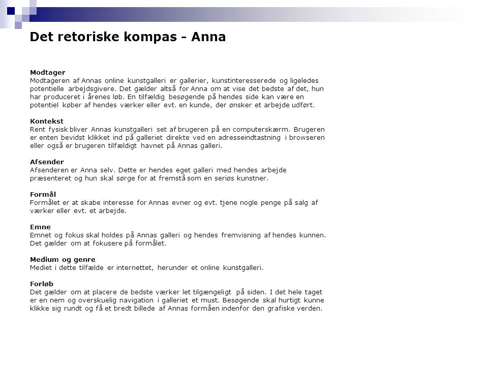 Det retoriske kompas - Anna