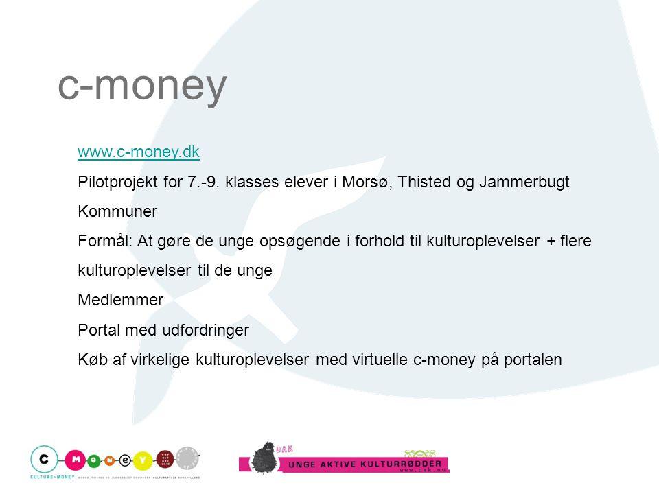 c-money www.c-money.dk. Pilotprojekt for 7.-9. klasses elever i Morsø, Thisted og Jammerbugt Kommuner.