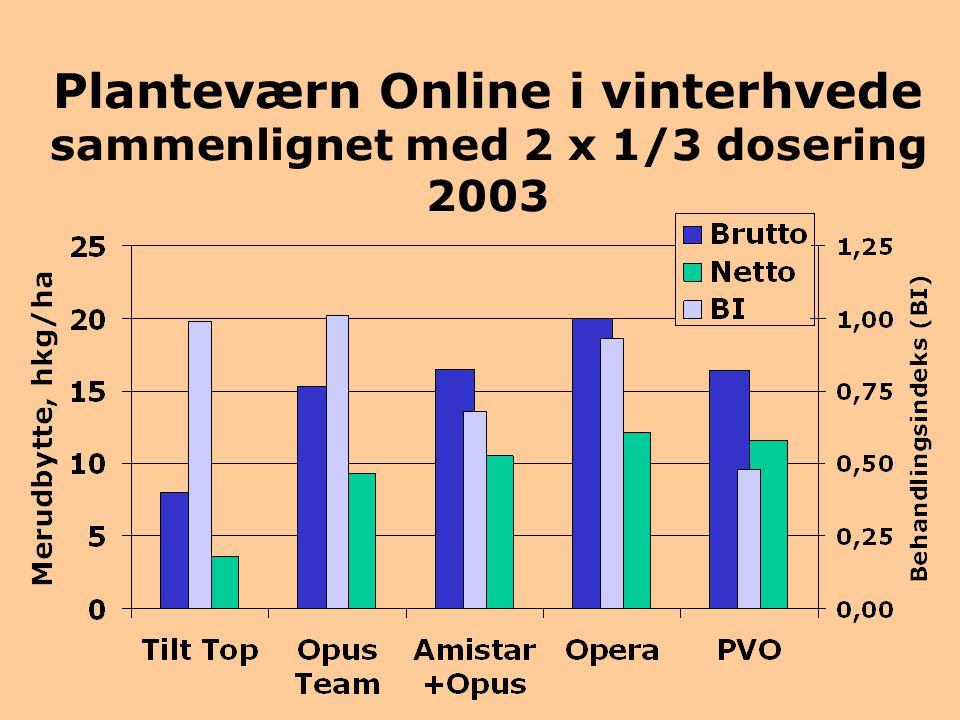 Planteværn Online i vinterhvede sammenlignet med 2 x 1/3 dosering 2003