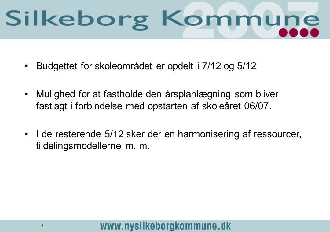 Budgettet for skoleområdet er opdelt i 7/12 og 5/12