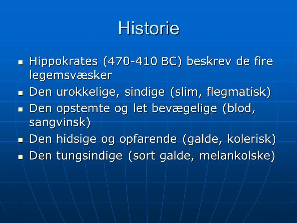 Historie Hippokrates (470-410 BC) beskrev de fire legemsvæsker
