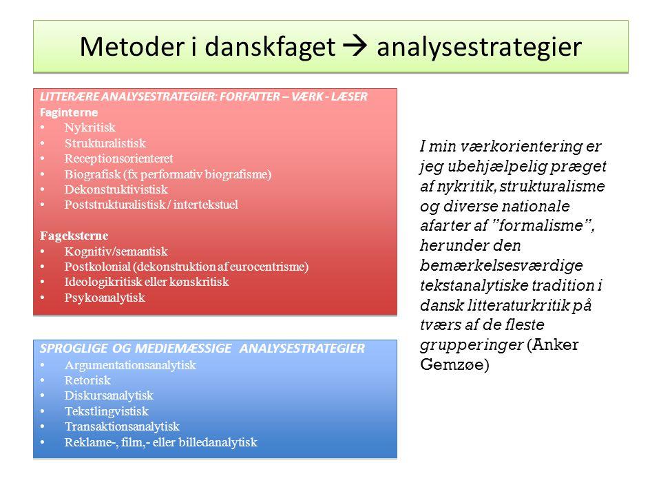 Metoder i danskfaget  analysestrategier