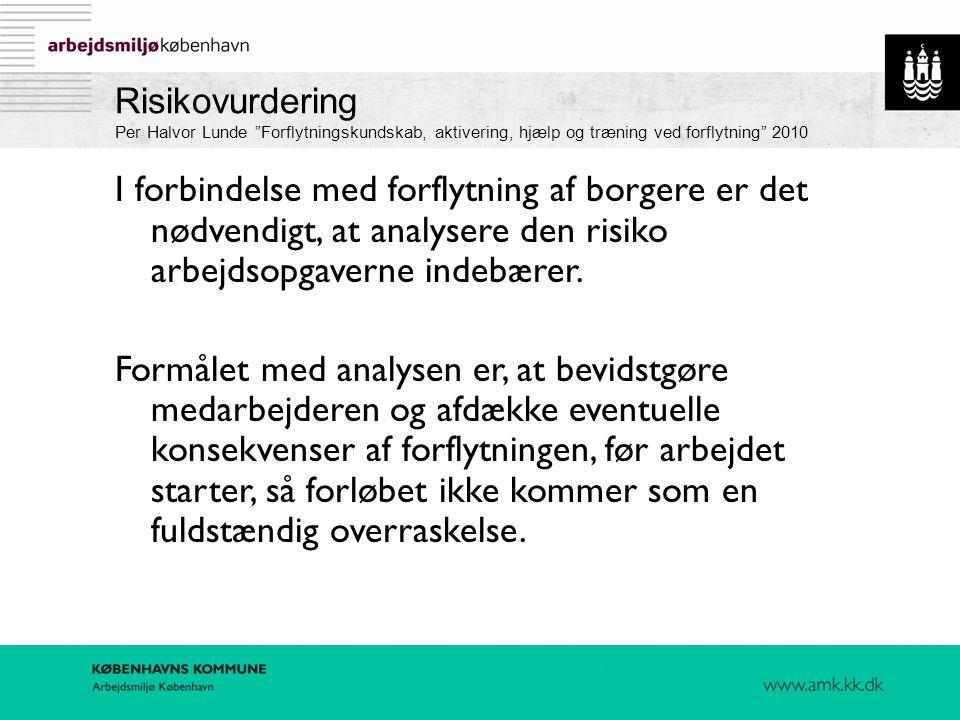 Risikovurdering Per Halvor Lunde Forflytningskundskab, aktivering, hjælp og træning ved forflytning 2010