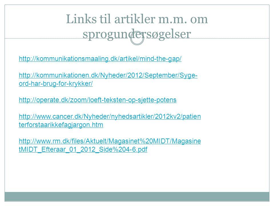 Links til artikler m.m. om sprogundersøgelser