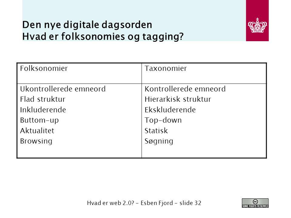 Den nye digitale dagsorden Hvad er folksonomies og tagging