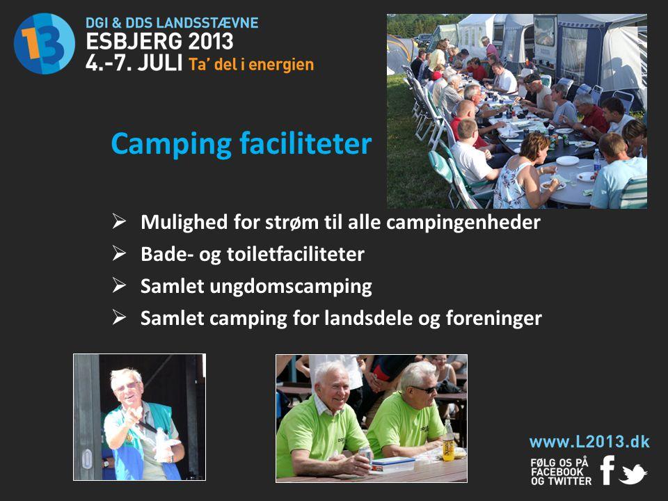 Camping faciliteter Mulighed for strøm til alle campingenheder