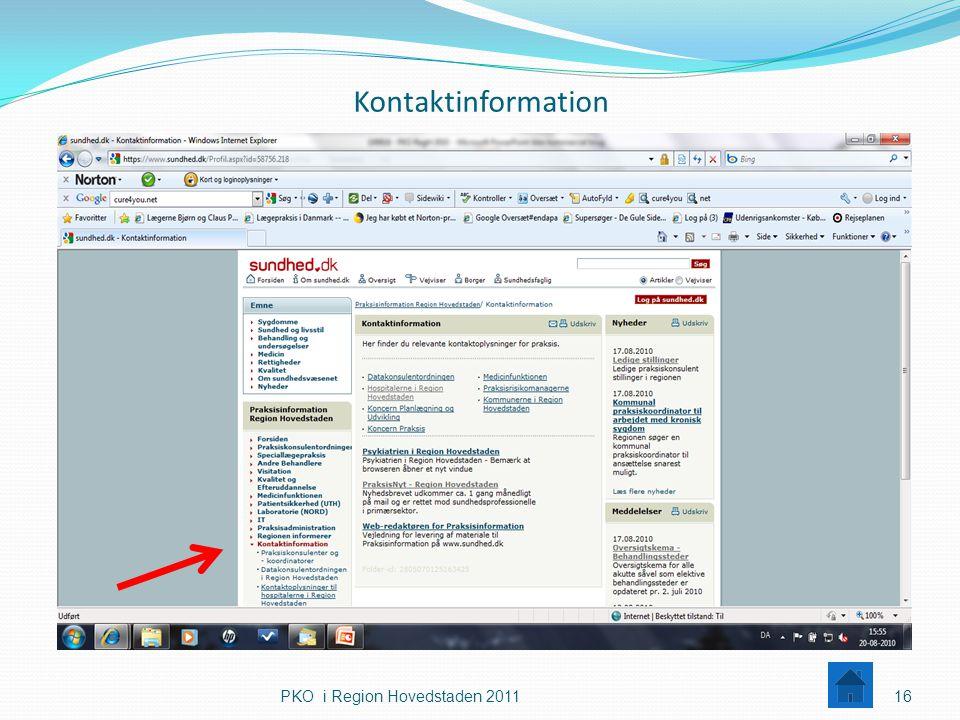 Kontaktinformation PKO i Region Hovedstaden 2011