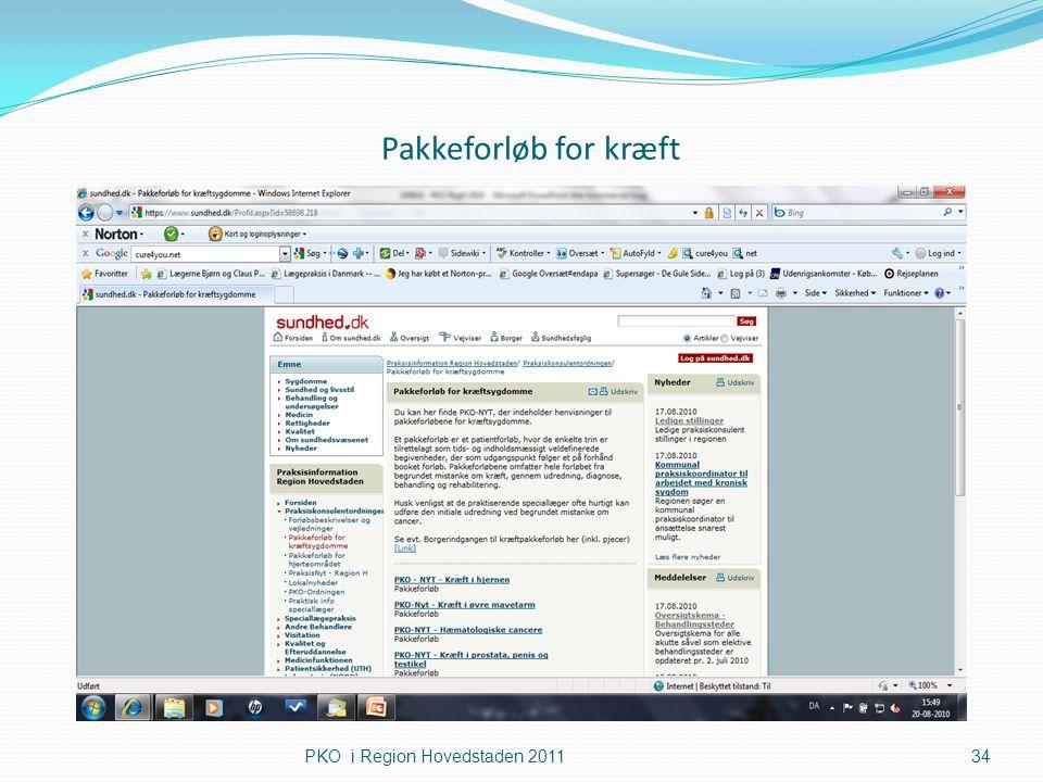 Pakkeforløb for kræft PKO i Region Hovedstaden 2011