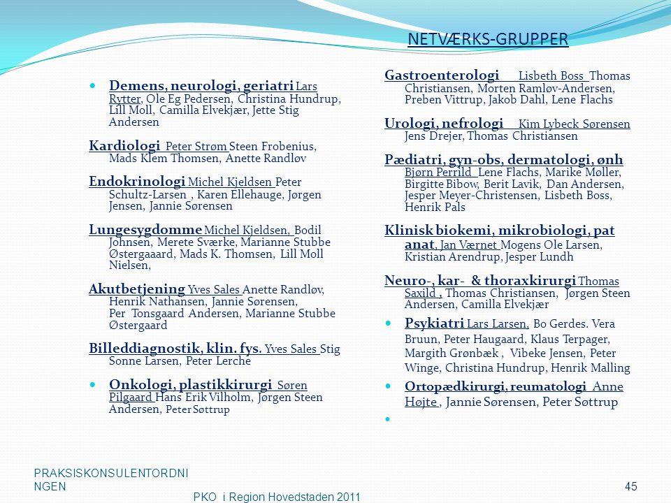 NETVÆRKS-GRUPPER Gastroenterologi Lisbeth Boss Thomas Christiansen, Morten Ramløv-Andersen, Preben Vittrup, Jakob Dahl, Lene Flachs.