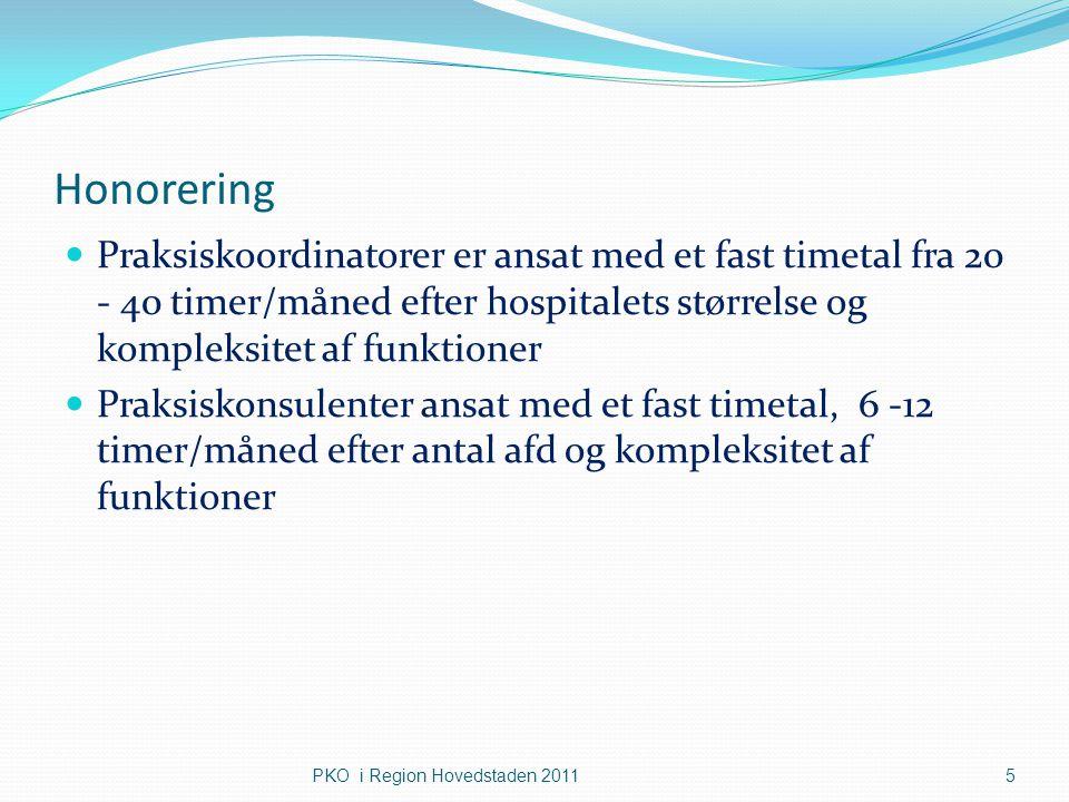Honorering Praksiskoordinatorer er ansat med et fast timetal fra 20 - 40 timer/måned efter hospitalets størrelse og kompleksitet af funktioner.
