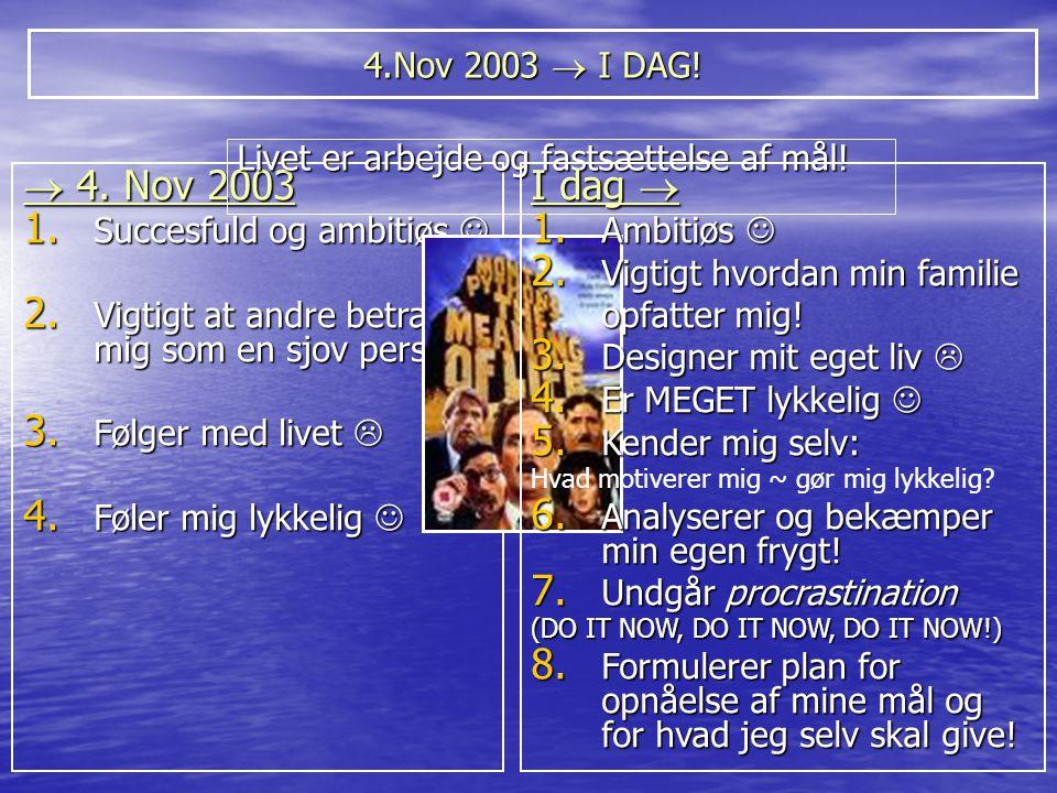 4.Nov 2003  I DAG! Livet er arbejde og fastsættelse af mål!  4. Nov 2003. Succesfuld og ambitiøs 