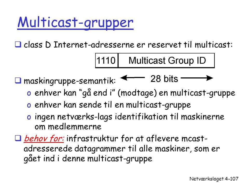 Multicast-grupper class D Internet-adresserne er reservet til multicast: maskingruppe-semantik: enhver kan gå end i (modtage) en multicast-gruppe.