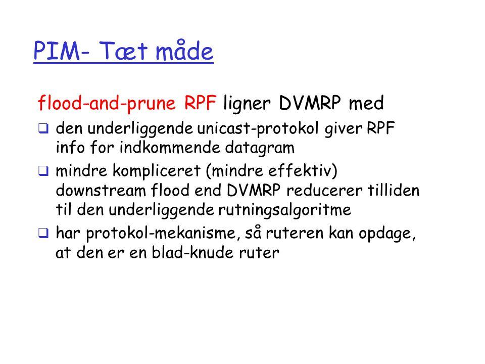 PIM- Tæt måde flood-and-prune RPF ligner DVMRP med
