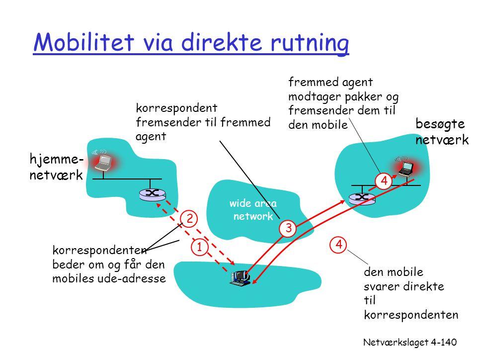 Mobilitet via direkte rutning
