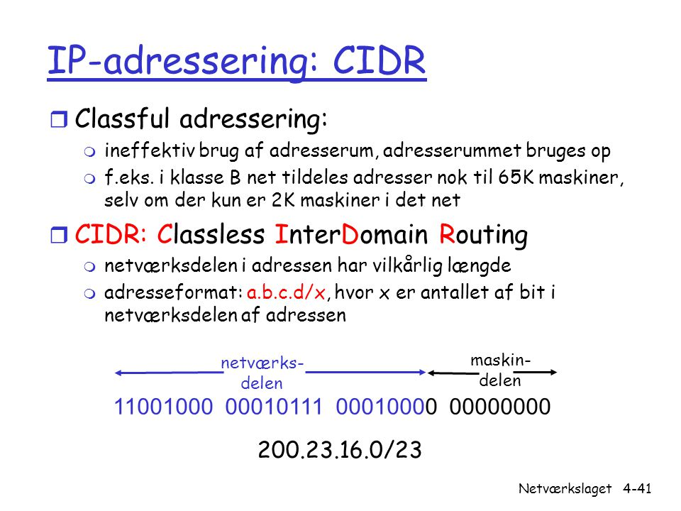 IP-adressering: CIDR Classful adressering: