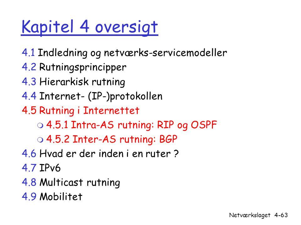 Kapitel 4 oversigt 4.1 Indledning og netværks-servicemodeller