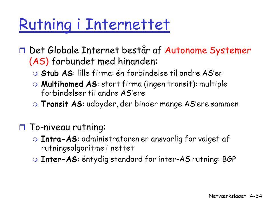 Rutning i Internettet Det Globale Internet består af Autonome Systemer (AS) forbundet med hinanden: