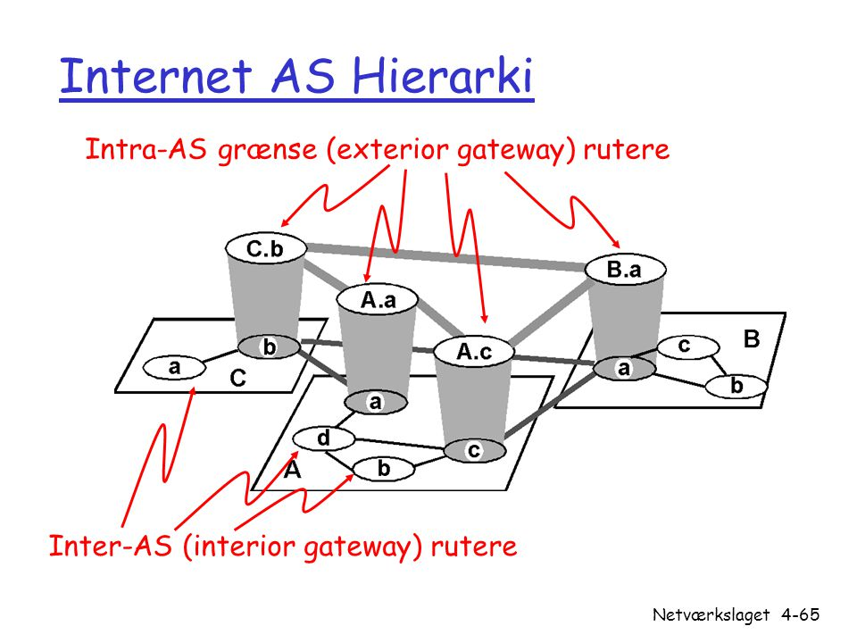 Internet AS Hierarki Intra-AS grænse (exterior gateway) rutere