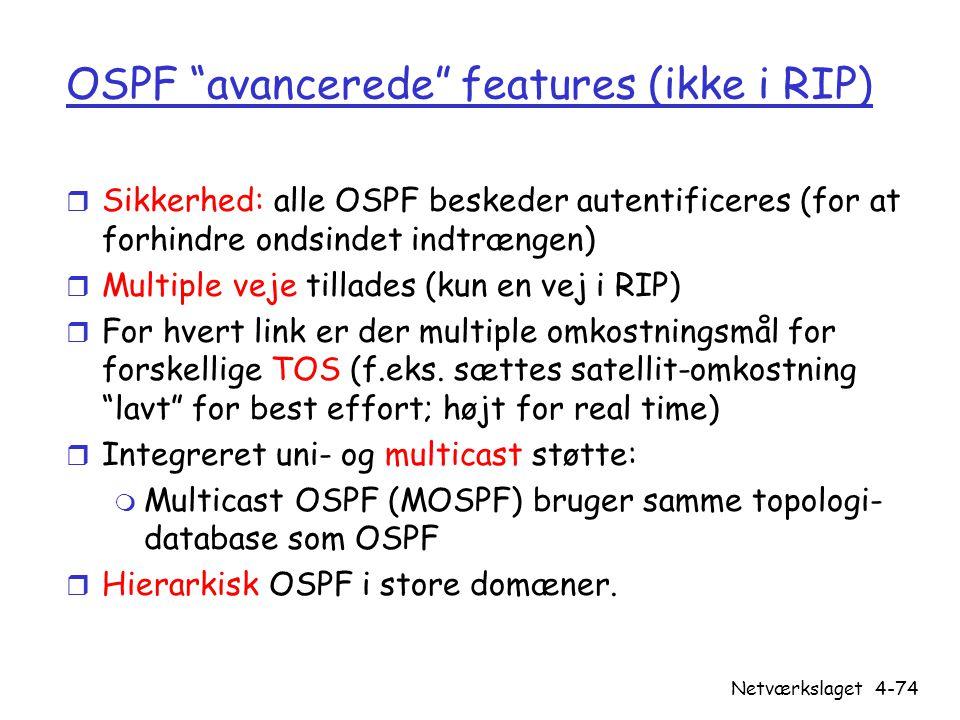 OSPF avancerede features (ikke i RIP)