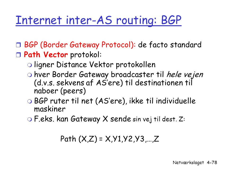 Internet inter-AS routing: BGP