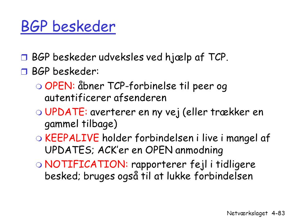 BGP beskeder BGP beskeder udveksles ved hjælp af TCP. BGP beskeder: