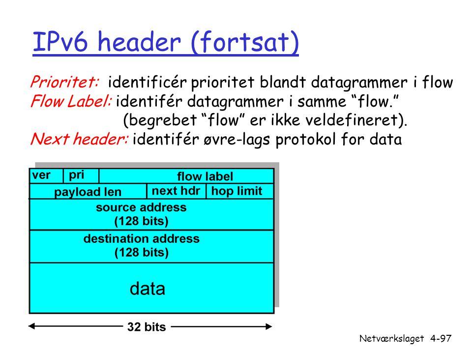 IPv6 header (fortsat) Prioritet: identificér prioritet blandt datagrammer i flow. Flow Label: identifér datagrammer i samme flow.
