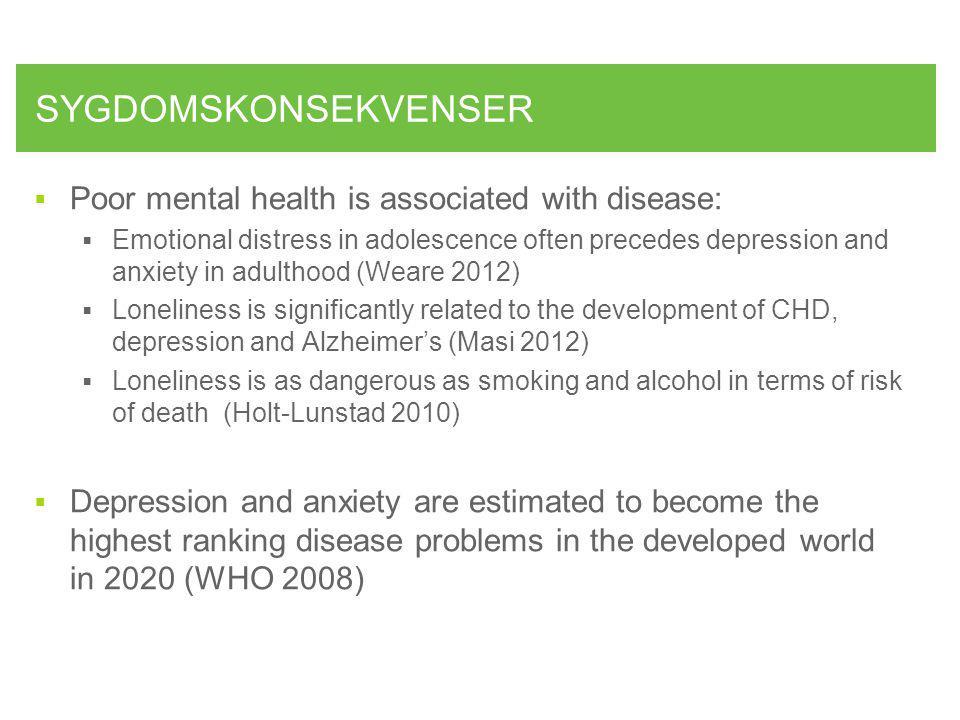SYGDOMSKONSEKVENSER Poor mental health is associated with disease: