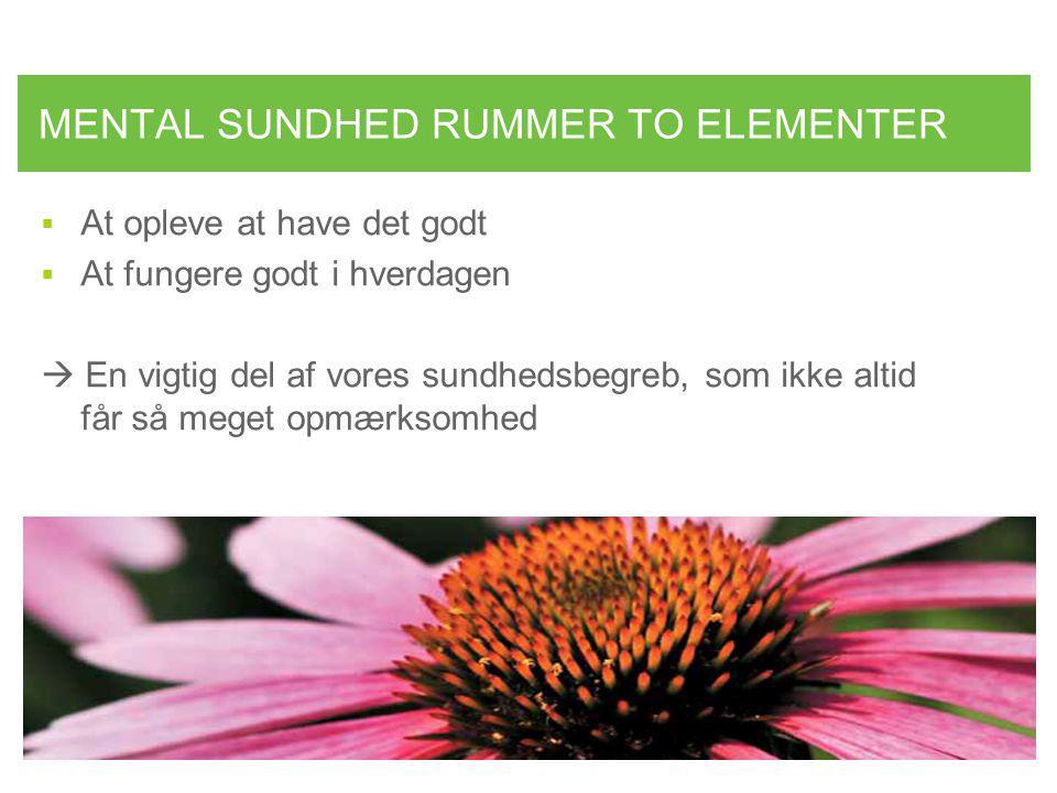 MENTAL SUNDHED RUMMER TO ELEMENTER