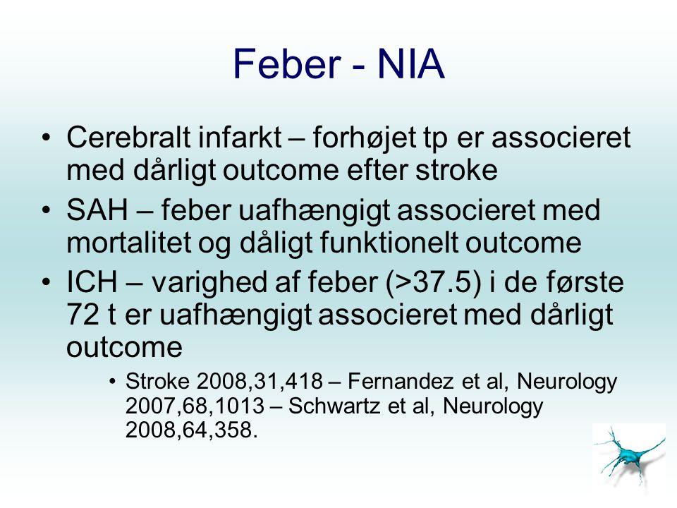 Feber - NIA Cerebralt infarkt – forhøjet tp er associeret med dårligt outcome efter stroke.