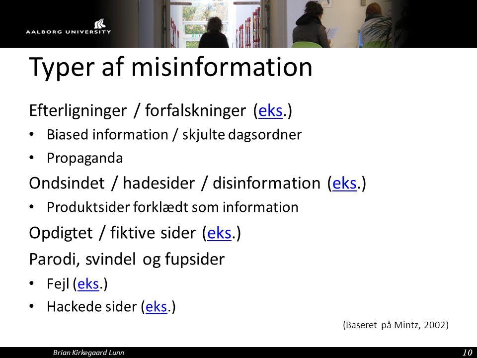 Typer af misinformation
