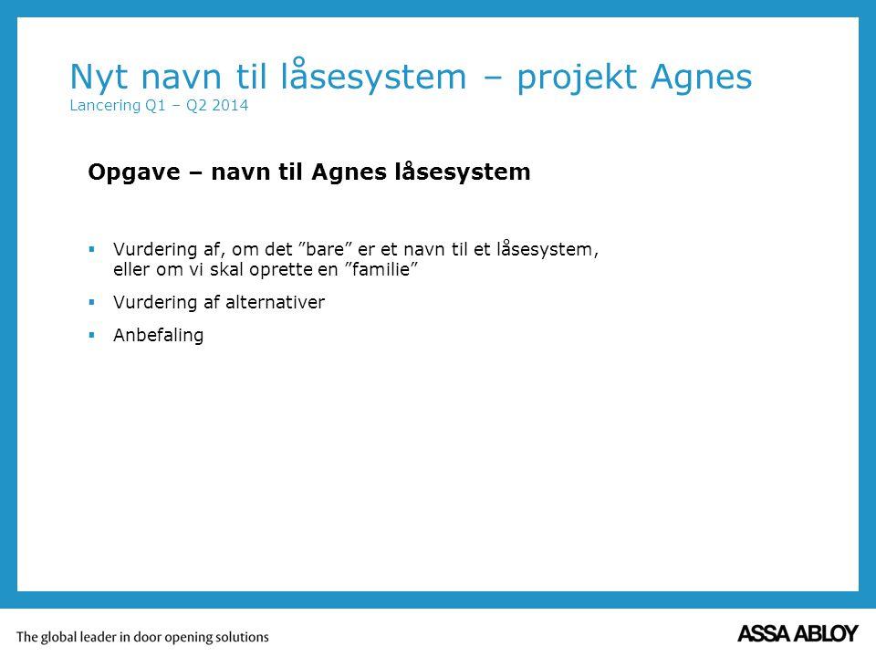 Nyt navn til låsesystem – projekt Agnes Lancering Q1 – Q2 2014