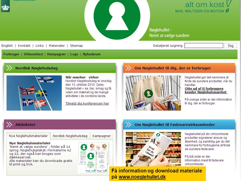 Få information og download materiale på www.noeglehullet.dk