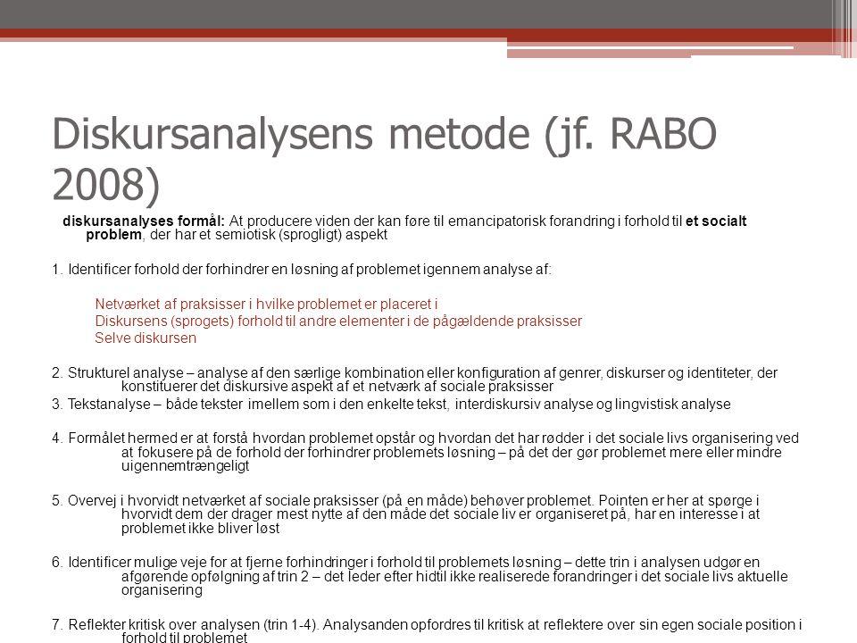 Diskursanalysens metode (jf. RABO 2008)