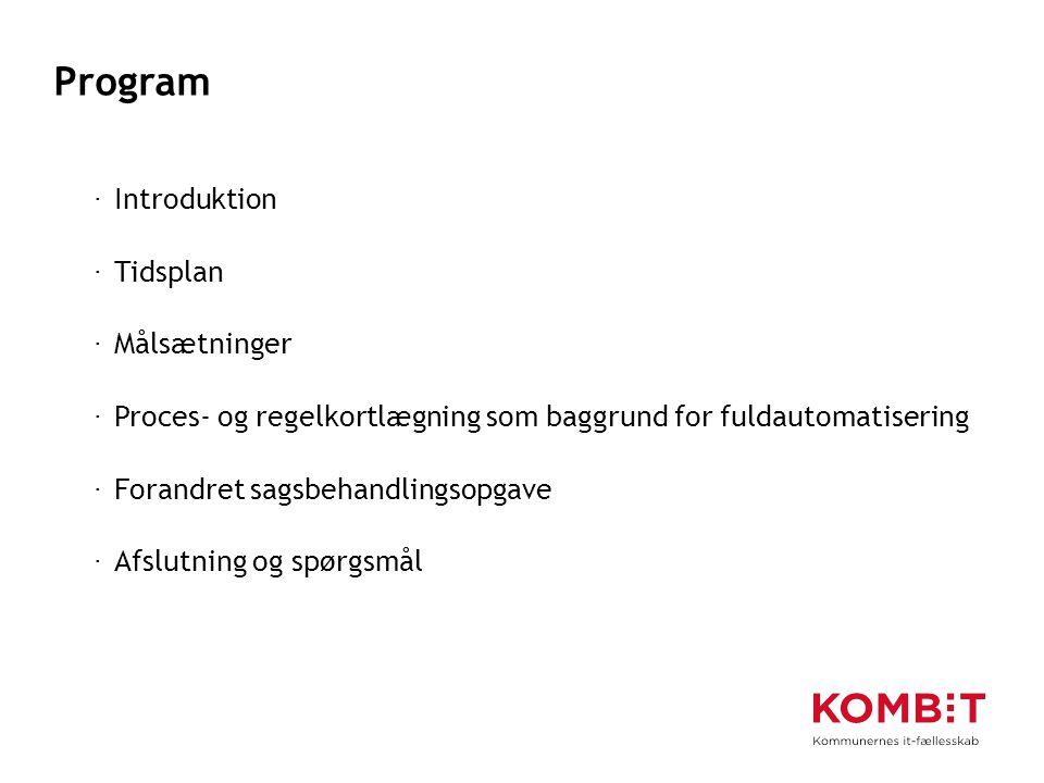 Program Introduktion Tidsplan Målsætninger