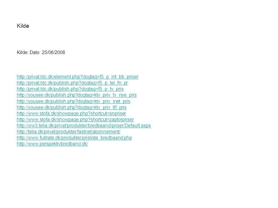 Kilde Kilde: Dato: 25/06/2008. http://privat.tdc.dk/element.php dogtag=f5_p_int_bb_priser. http://privat.tdc.dk/publish.php dogtag=f5_p_tel_fn_pr.