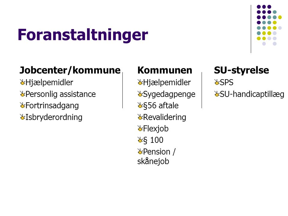 Foranstaltninger Jobcenter/kommune Kommunen SU-styrelse Hjælpemidler