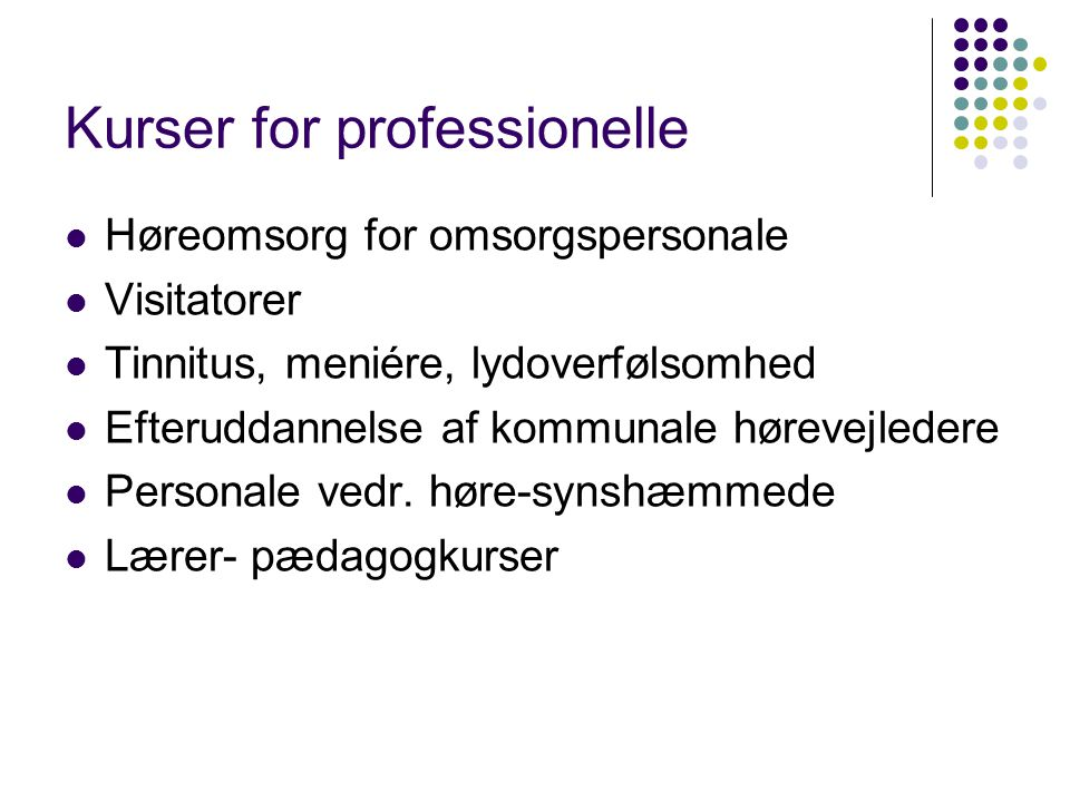 Kurser for professionelle