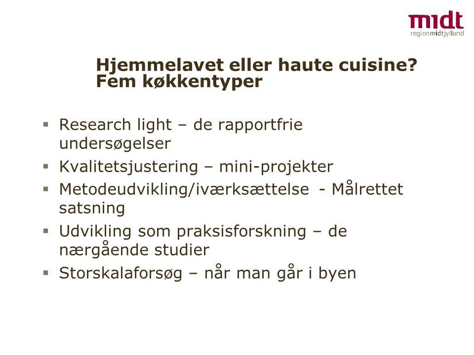 Hjemmelavet eller haute cuisine Fem køkkentyper