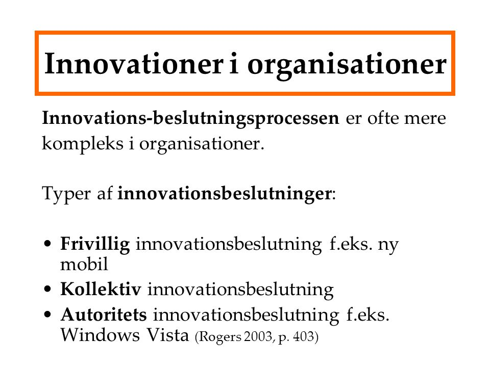 Innovationer i organisationer