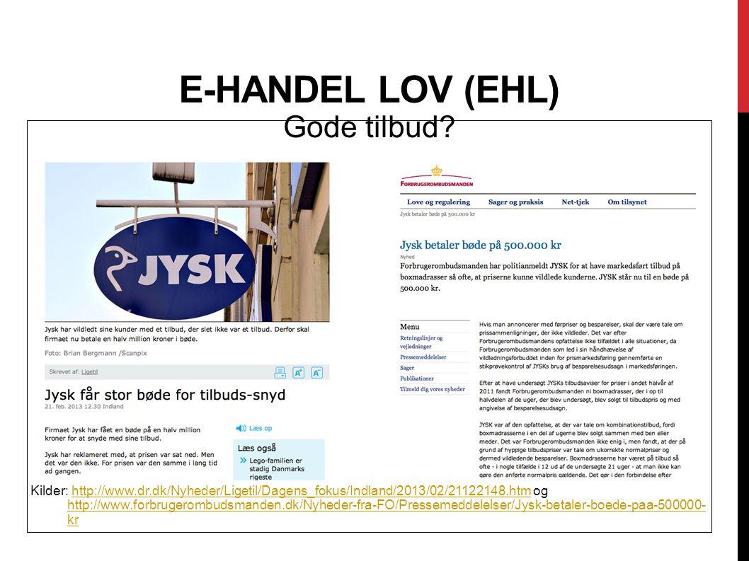 E-handel lov (EHL) Gode tilbud