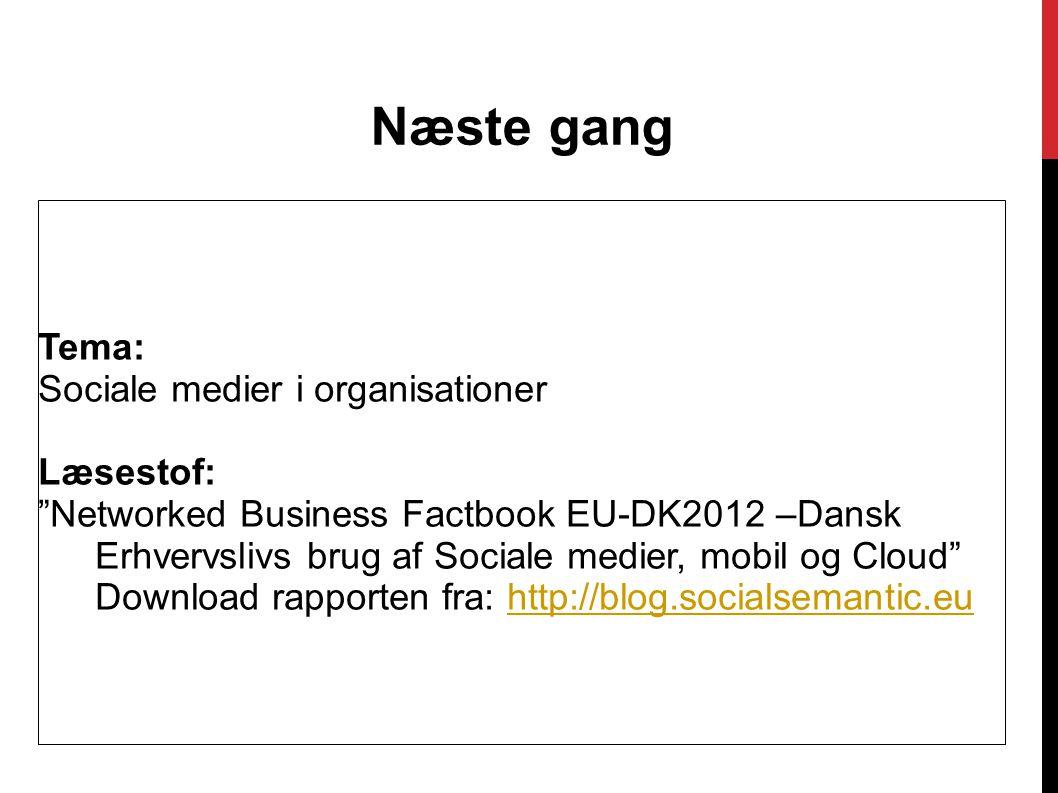 Næste gang Tema: Sociale medier i organisationer Læsestof: