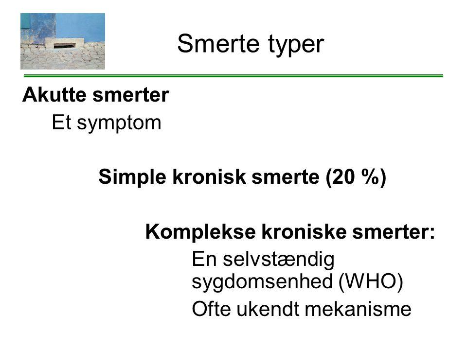 Smerte typer Akutte smerter Et symptom Simple kronisk smerte (20 %)