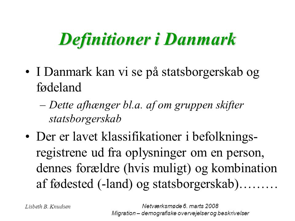 Definitioner i Danmark