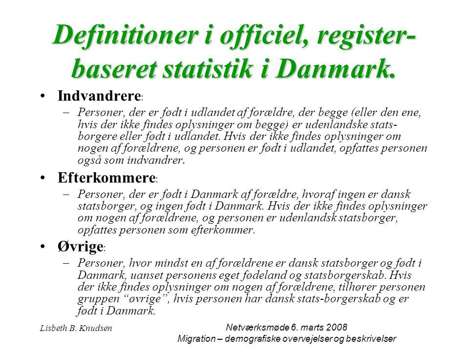 Definitioner i officiel, register-baseret statistik i Danmark.