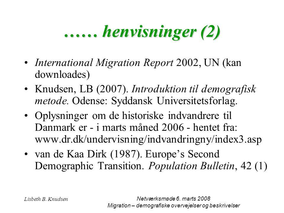 Migration – demografiske overvejelser og beskrivelser