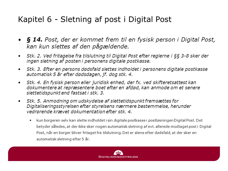 Kapitel 6 - Sletning af post i Digital Post